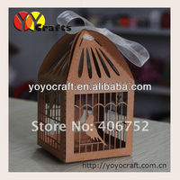 "6*6cm kraft paper laser cut ""bird cage""wedding boxes decoration Indian Wedding souvenirs box with ribbon from YOYO crafts"