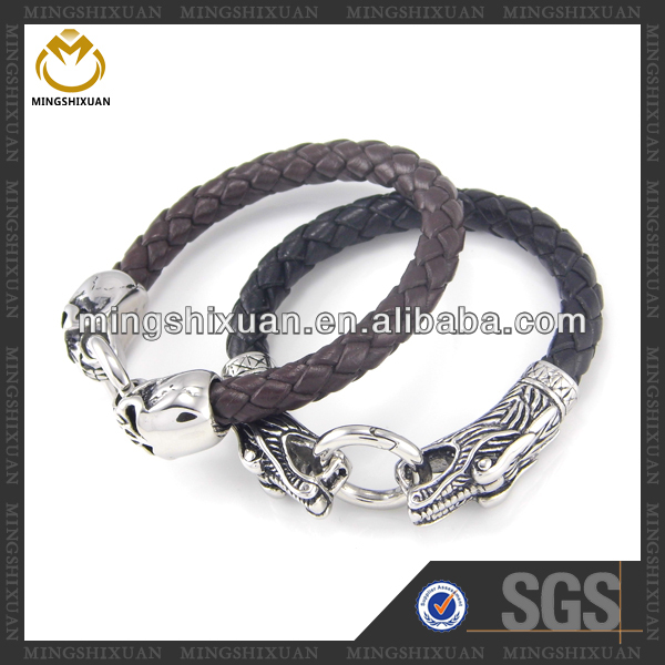 High Quality Skull Clasp Wholesale Braided Leather Bracelet