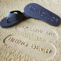 Flip flops style Summer beach sandals Cheap embossed logo on the sand