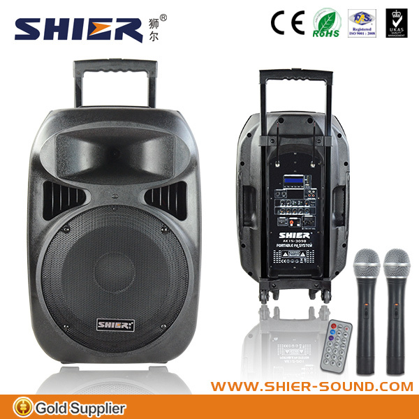 SHIER AK15-309B waterproof mp3 speaker case with USB/DVD/CD/bluetooth/SD/FM/AM.