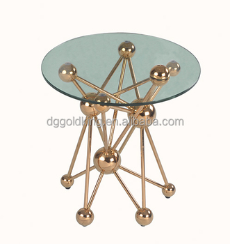 tempered glass luxury home decoration Living room decorative metal side table