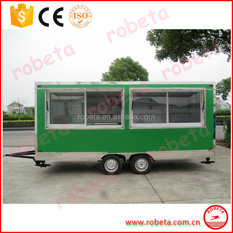Food Bus 4 Wheel Fast Food Truck Van with Mobile Multifunction Kitchen