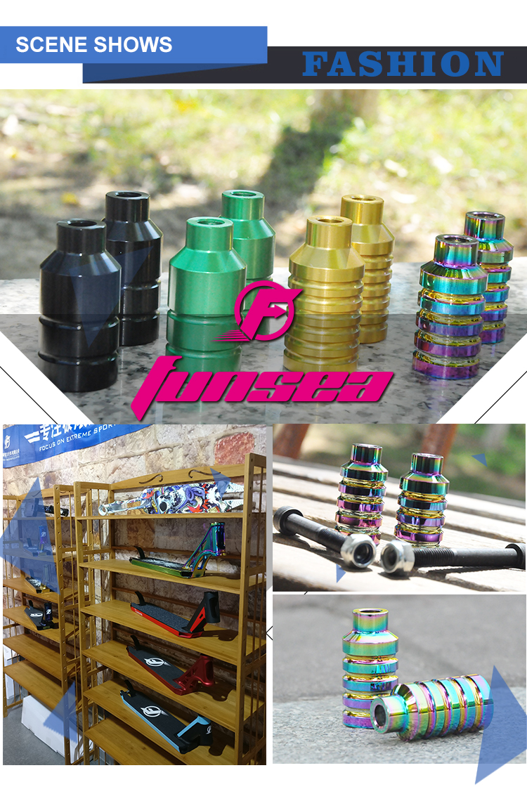 Funsea perfect high end universal high strength 12.9 axles mixed color pro scooter peg stunt scooter peg trick scooter peg