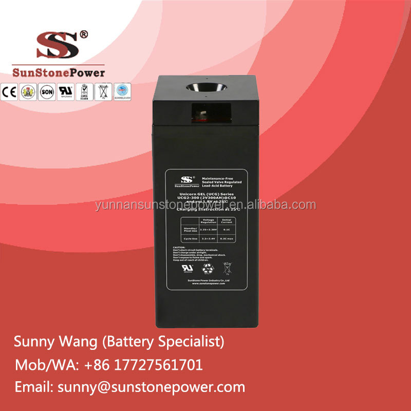 Rechargeable Lead Acid Gel Battery 2v 300ah Deep Cycle Storage Batteries for Stand Alone Solar System