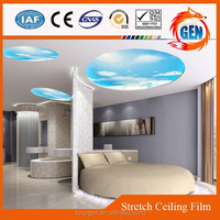 Project adjustable textile stretch ceiling fabric for indoor decor with 15-year warranty for swimming pools