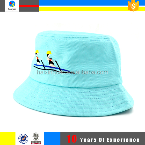 hot sale light blue embroidery bucket hats