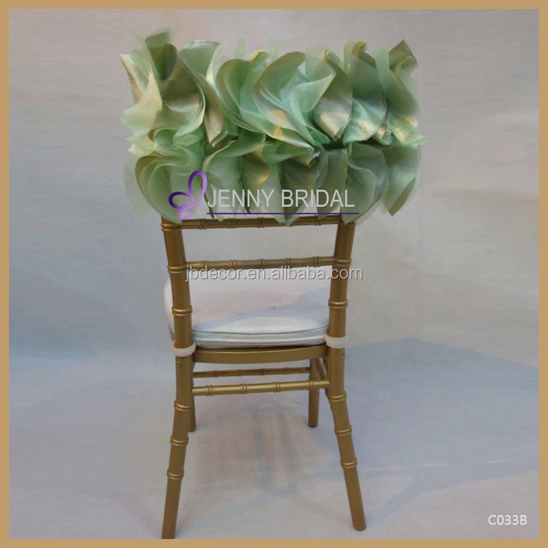 C033B elegant half back pattern mint green organza ruffled chair cover