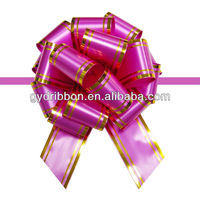 Gift/Balloon/Basket Wrapping Poly with Gold Line SP Pull Ribbon Bow ,Christmas celebration bow