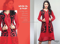 Georgette embroidery tops -Indian Wholesale Chiffon Kurtis-party wear tunic-ethnic Kurtis