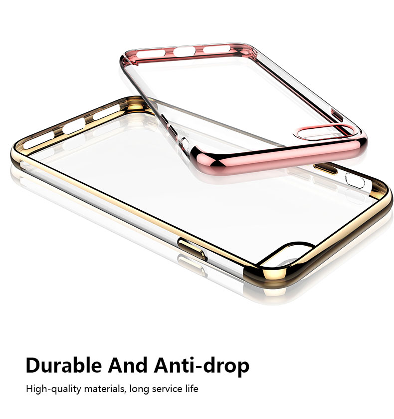 Transparent TPU Bumper Electroplated Cell Phone Case For Iphone 5C 6S 7 Plus