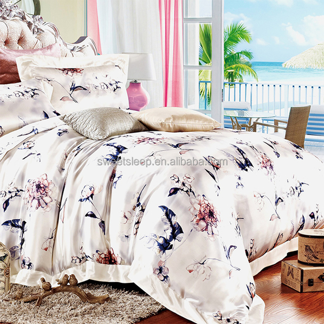 100% mulberry silk duvet cover sets/19 momme wedding silk duvet cover bedding sets