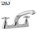 Double Lever Cross Handle Deck Sink Mixer Polished Chrome Brass Kitchen Faucet Swivel Spout
