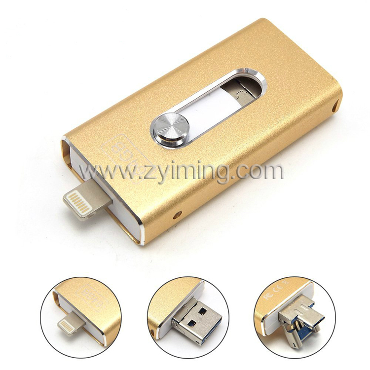 Zyiming flash drive factory wholesale OTG usb flash drive 8GB 16GB 32GB 64GB for iphone
