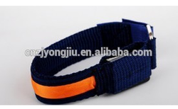 locking dog collar LED flashing with USB rechargeable knitted fabric 100%polyester