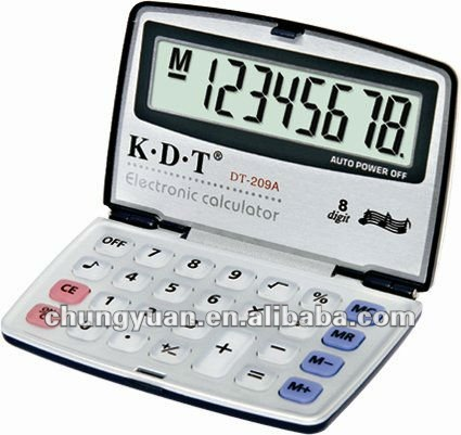 8 digit calculator rubber key with big LCD display key sound function DT-209A