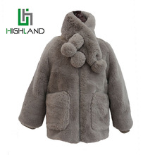2017Latest Winter Faux Fur Coat For Kids Coral Fleece Folder Jacket With Matching Scarves