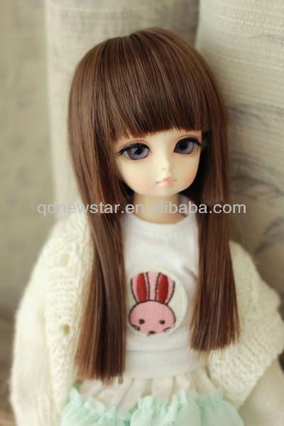 heat resistant synthetic doll long wig