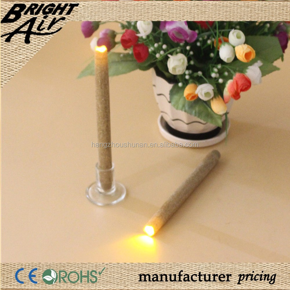2pcs/set non drip decorative led taper candles with golden powder surface