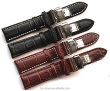 High End Alligator Genuine Leather Strap With Double Butterfly Buckle