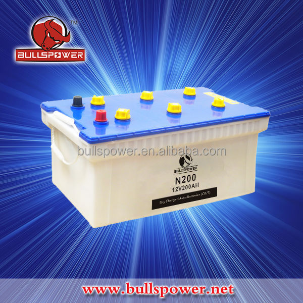 Auto battery dry charged 12V200Ah wholesale,hybrid car battery