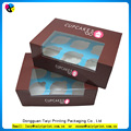 Wholesale packaging 6 hole printing cupcake boxes purple