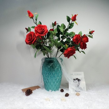 Vivid home decorative accessories silk flowers artificial potted roses