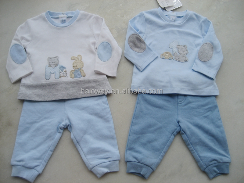 2pcs baby clothing set: brushed fleece Top and pants