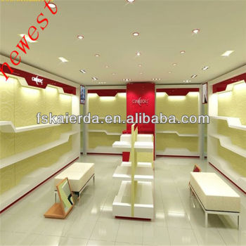 wooden shoe display rack/wall shelf for shoe/store furniture for shoes