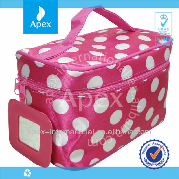 Folding Type Ladies Cosmetic bag with mirror