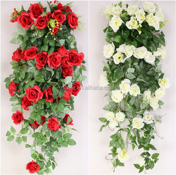 100CM 5Stems Artificial Rose Garland Wedding Party Decor Silk Flower Vine Garland
