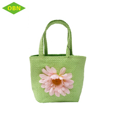Colorful Flower Crochet Designer Handbag Paper Straw Beach Tote Bag With Hanging