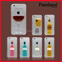 2015 Newest Cocktail Moving Liquid 3D New Case Cover For iPhone 6 6p 5s 5c