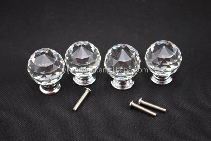 Mix Colorful crystal kitchen cabinet door knobs 30mm Diameter