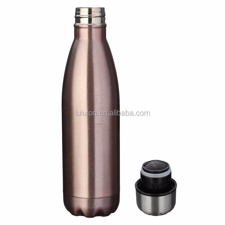custom print stainless steel Double Wall cola shape 24 hour cold water bottle