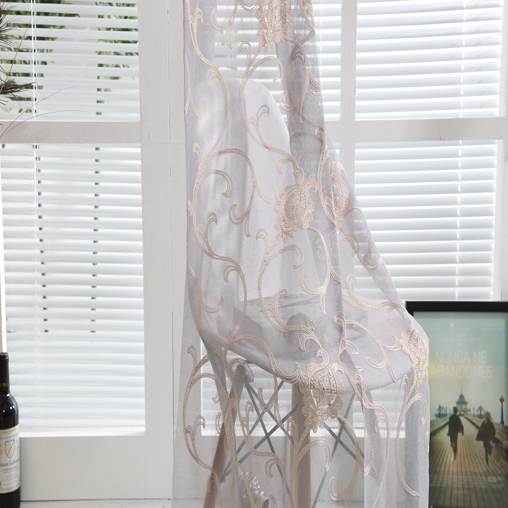 Make-to-order supply woven technic linen embroidered sheer window drapes curtain