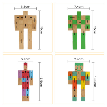 Cube Puzzle Brain Teaser Children Toy IQ wooden Robot puzzle cubes Custom Wooden Robot Toy