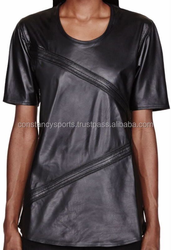 Black Buffed Leather Tops Tshirts Women/Latest Tops 2014/ unique Tops