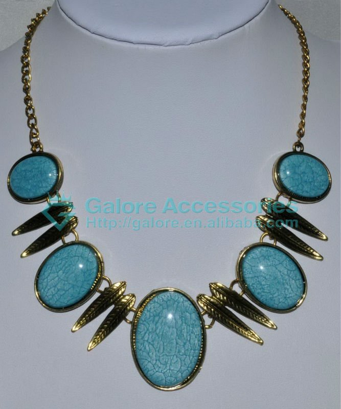 custom imitation natural turquoise bib coral necklace