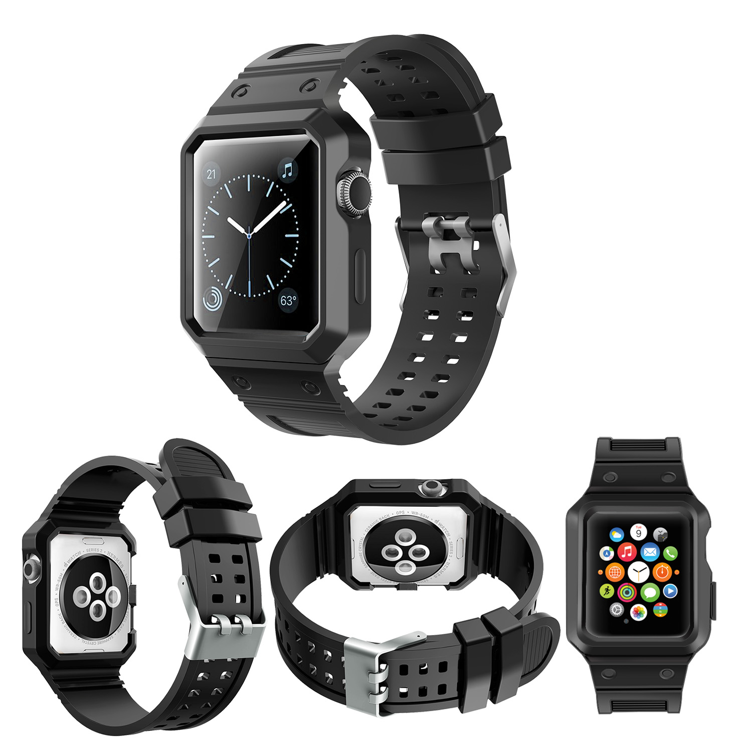 Top Selling Silicone Rubber Wrist Band For Apple iWatch 38mm 40mm 42mm 44mm