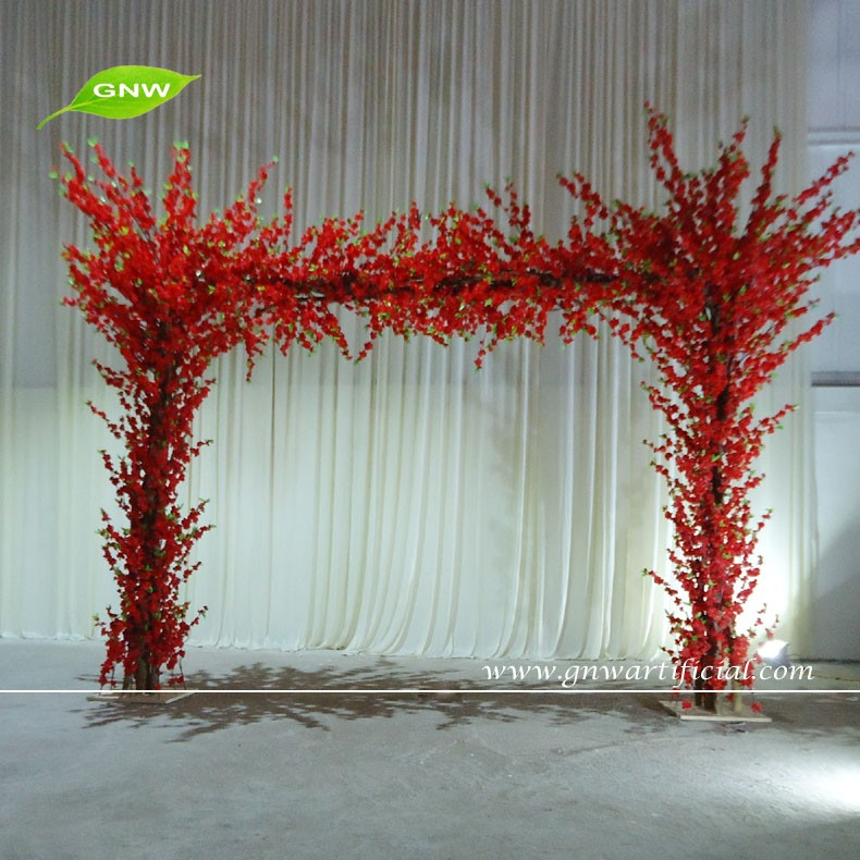 GNW FLA1603002 Red Artificial Cherry Blossom Flowers Wedding Stage Backdrop Decoration