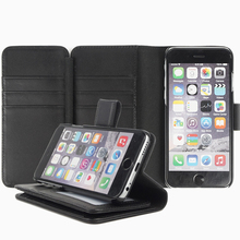 High quality pu leather wallet cases with tri-fold opened card slots leather phone wallet for iphone 7