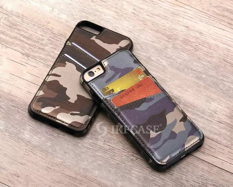 2016 New Cool Camouflage Skin Insert Card Slot PU Leather Phone Case for iPhone 6S 6S Plus