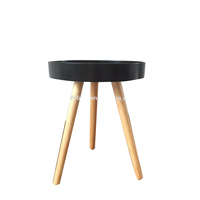 New design black round pallet wooden coffee table pine leg for living room