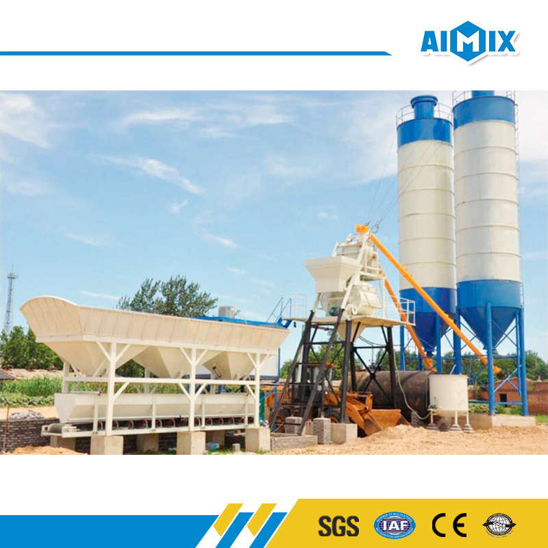 Best quality HZS50 small concrete batching plant process