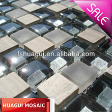 Light grey wood vein marble mosaic mix glass background tile(Sample size:10*10*0.8CM)