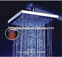 LED 8 Inch Rain Shower Head Brushed brass High Pressure top Shower head Ultra Thin Water Saving