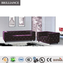 Fashion style purple tv room sectional fabric sofa 1+2+3 high quality