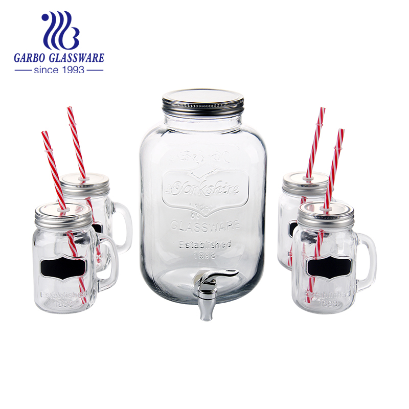 3.5L 5pcs beverage glass mason jar drinking set with juice dispenser