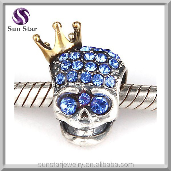 18k gold plating crown sterling <strong>silver</strong> 925 deep blue zircon pave skull bracelet jewelry wholesale