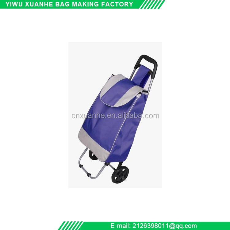 Custom wholesale folding vegetable shopping trolley bag with wheels